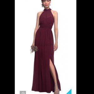 Bill Levkoff 7019 High Neck Wine Bridesmaid Gown